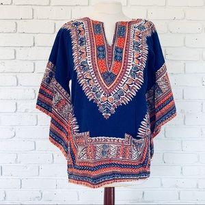 Vintage Angel Sleeve Cotton Dashiki Tunic